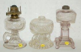 6: 3 Antique Kerosene Lamps, Amethyst & Floral