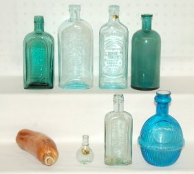 7: 8 Antique Bottles, Medicine, Whiskey