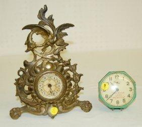 8: 2 Antique Dresser Clocks, Bird, Shoe Advertising