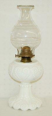 9: Antique Milk Glass Scroll Heart Kero Lamp