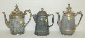11: 3 Antique Gray Enamel Coffee Pots, Graniteware