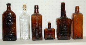 6 Antique Medicine Bottles, 1880s-1930s, Bitters