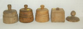 5 Antique Wood Butter Molds