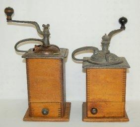 19: 2 Antique Wood & Cast Iron Coffee Mills