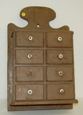 20: Lg 8 Drawer Painted Wood Hanging Spice Cabinet