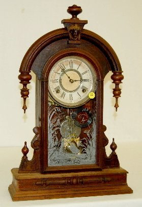 22: Antique Gilbert Lady Head Parlor Clock, T & S