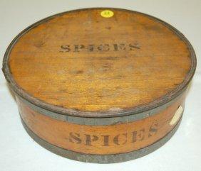 24: 9pc Antique Round Wooden Spice Box Set
