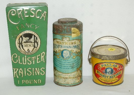 46: 3 Tin Litho Advertising Tins, Peanut Butter +