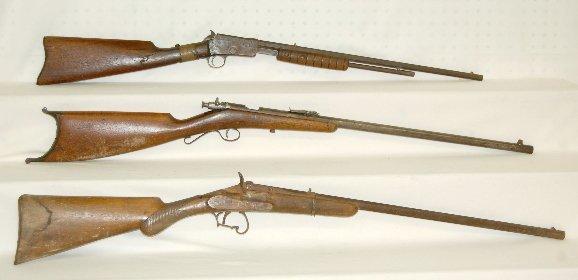 240G: 3 Antique 22 Caliber Rifles, Springfield, +