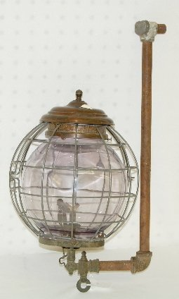 "268: Antique ""Colt"" Gas Wall Light w/Caged Globe"