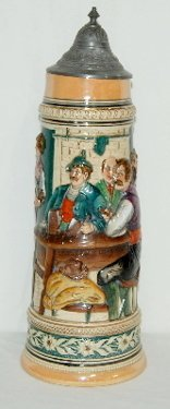 1: German Ornate Beer Stein, Tavern Scene