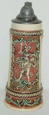 5: German Ornate Beer Stein, Lady, Man & Verse
