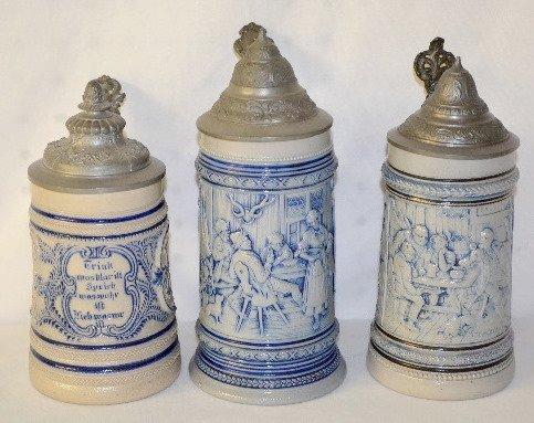6: German Ornate Beer Steins, Verse & Tavern Scene