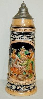 7: German Ornate Beer Stein, Tavern Scene