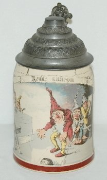 8: German Ornate Beer Stein, Gnomes Bowling