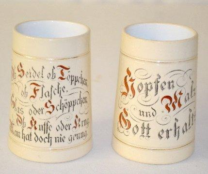 9: 2 German Ornate Beer Mugs, Verse