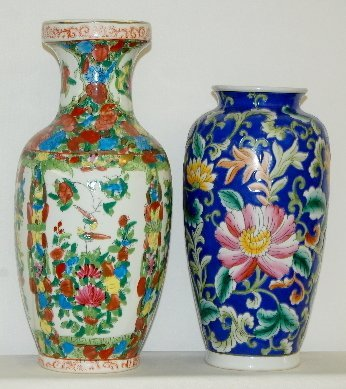 11: 2 Chinese Porcelain Floral Decorated Vases