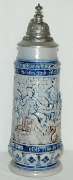 14: German Ornate Beer Stein, Tavern Scene