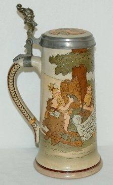 15: German Ornate Beer Stein, Soldiers & Drinking