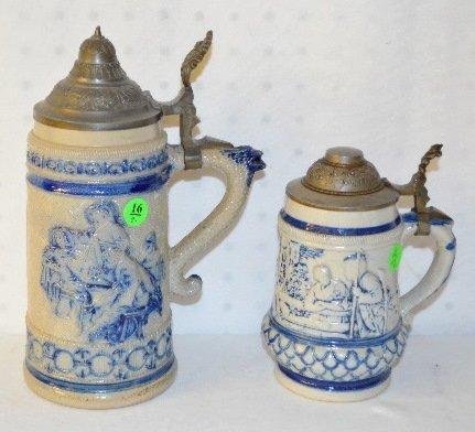 16: 2 German Ornate Beer Steins, Couple & Tavern