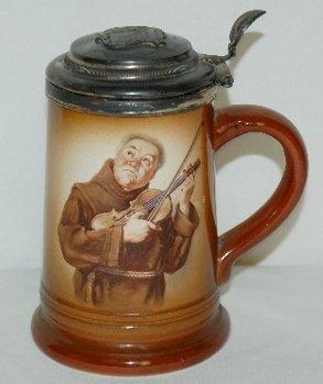 """21: """"Niagra"""" Souvenir Porcelain Stein, Monk w/ Violin"""