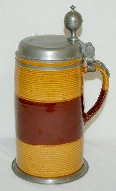 69: German Earthenware Beer Stein, Saxony