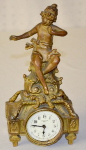 New Haven Figural Novelty Clock w/Cherub