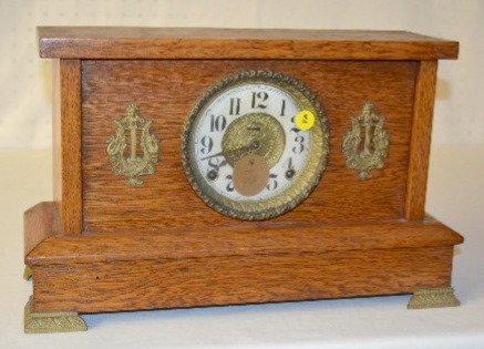 Antique Oak Mantel Clock, 8 Day, T & S
