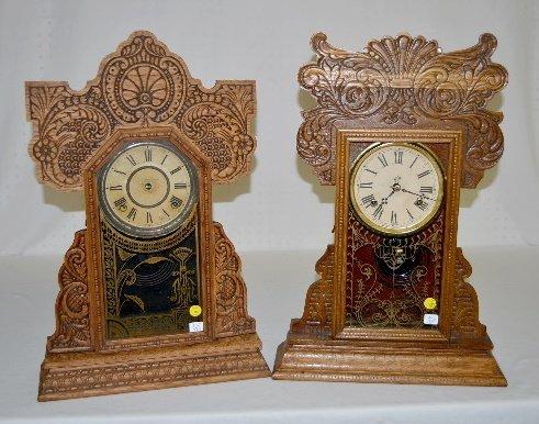 Waterbury and Ingraham Oak Kitchen Clocks