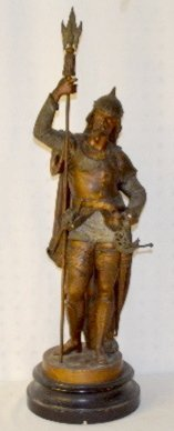 Antique Clock Statue of a Soldier with Spear