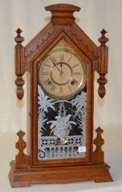 "Ansonia Wood Mantel Clock, ""Africa"""