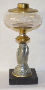 Civil War Era Figural  Stemmed Kerosene Lamp