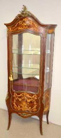 - Antique French Inlaid Curio Cabinet W/ Cherubs