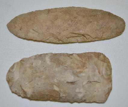 2 Native American Stone Tools Hoe Amp Knife
