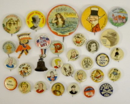 29 Advertising & Collectible Pinback Buttons
