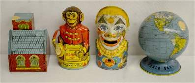 4 Tin Litho Penny Banks Monkey Clown