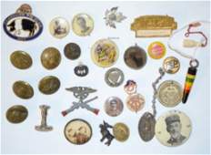 30 Assorted Advertising Buttons Pins and Other