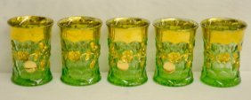 5 Green Strawberry & Blossoms Tumblers