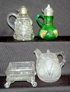 4 Collectible Glass Items, Syrups, Bowl +