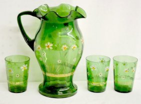 Green Glass Enamel Decorated Water Set, 4 Pcs.