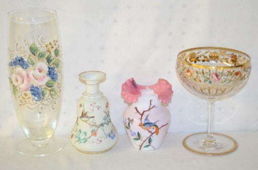 4 Floral Decorated Glass Items, Vases & Compote
