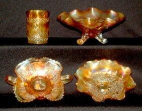 4 Marigold Carnival Glass Items, Bowls, Tumbler