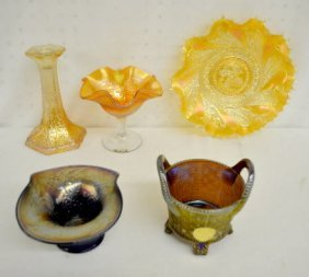 5 Carnival Glass Items, Compote, Vases, Plate +