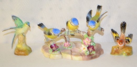 3 Staffordshire Bone China Birds