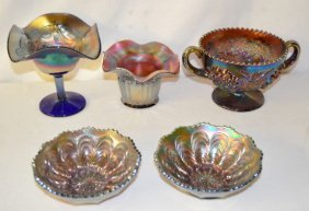 5 Carnival Glass Items, Compote, Vase, +