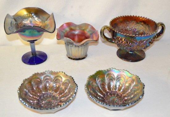 5 Carnival Glass Items, Compote, Vase, +