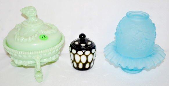 3 Colorful Glass Items, Fairy Lamp, Jar, Sugar Bowl