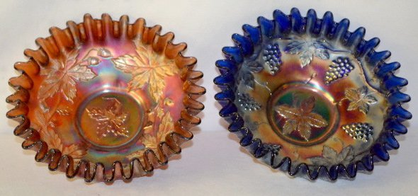 2 Fenton Carnival Glass Bowls, Amethyst & Cobalt