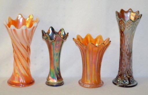 4 Carnival Glass Vases, Northwood, Dugan +