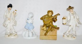 Figural Bookends and 3 Figurines